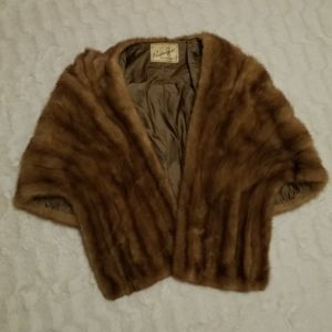 Vintage Mink shawl with pockets